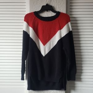 Red, white, and black chunky Express knit sweater